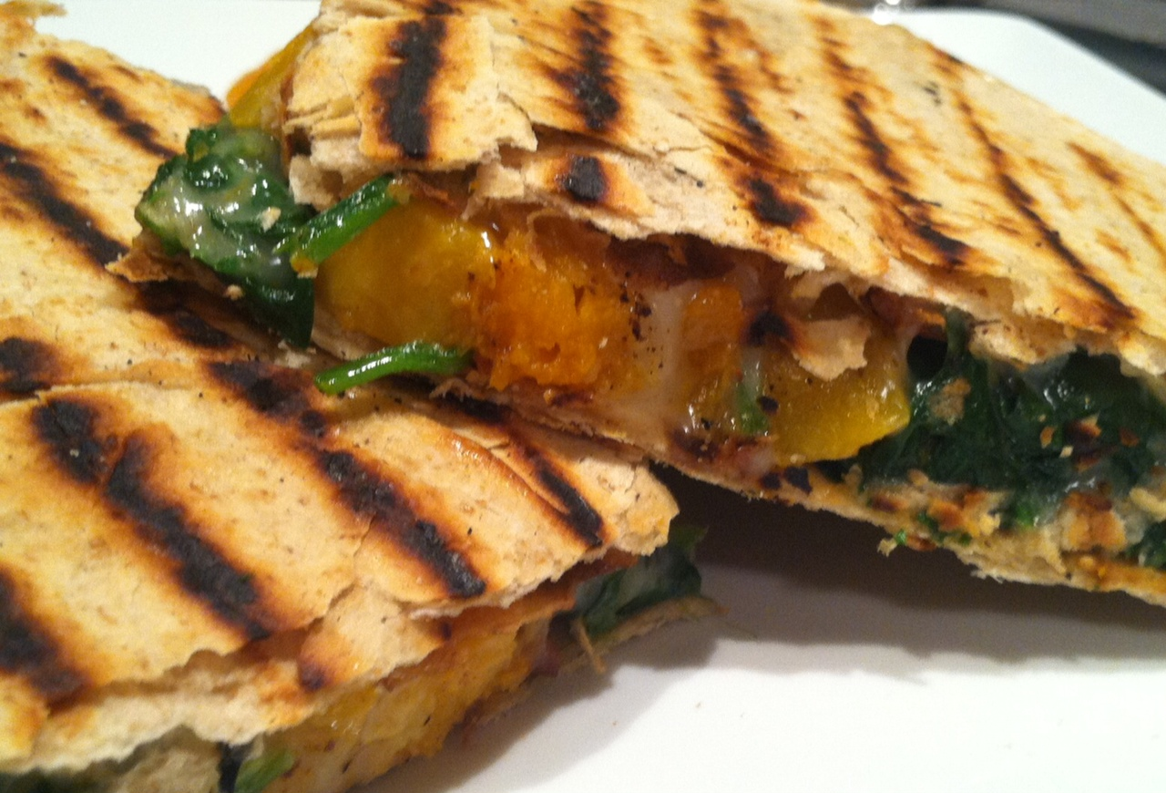 Butternut Squash and Kale Quesadillas | poorlittlerichcook